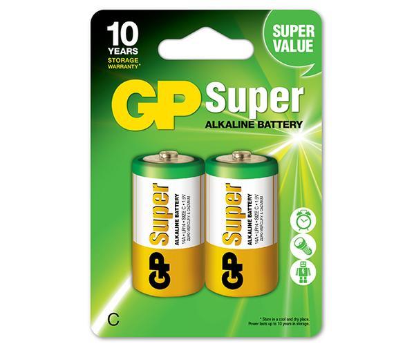 2 Pilhas Alcalina GP Batteries Super C 1,5v LR14