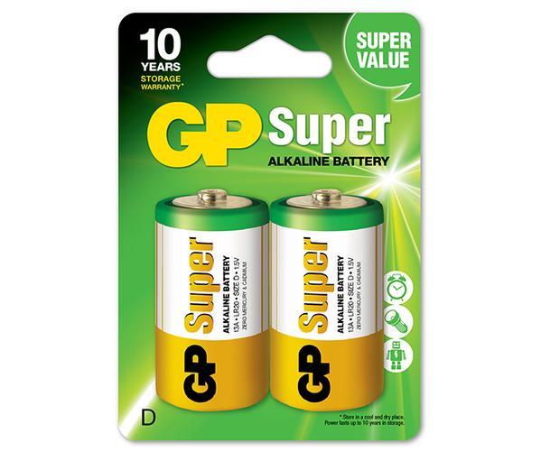 2 Pilhas GP Alcalina D Super Atacado e Revenda cartela c/2