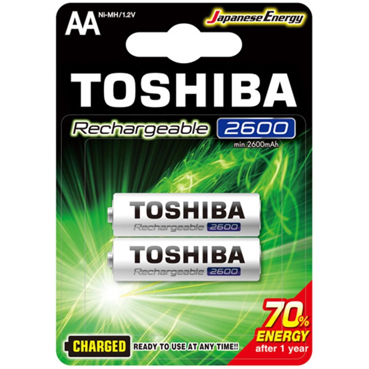 2 Pilhas Recarregáveis Toshiba AA Pequena 2600mAh TNH-6GAE BP-2C 1,2v