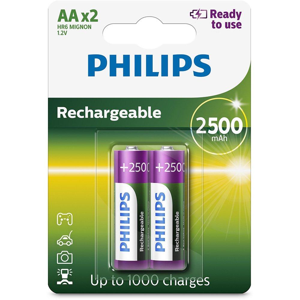2 Pilhas Recarregáveis Philips AA Pequena 2500mAh 1,2v