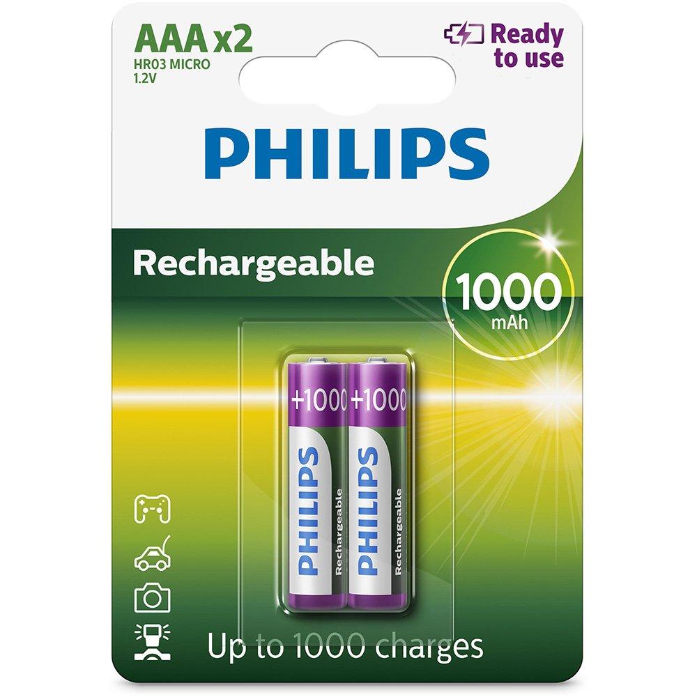 2 Pilhas Recarregáveis Philips AAA Palito 1000mAh 1,2v