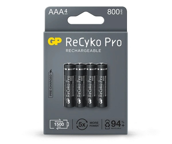 4 Pilhas Recarregáveis GP Batteries PRO AAA Palito 800mAh 1,2v