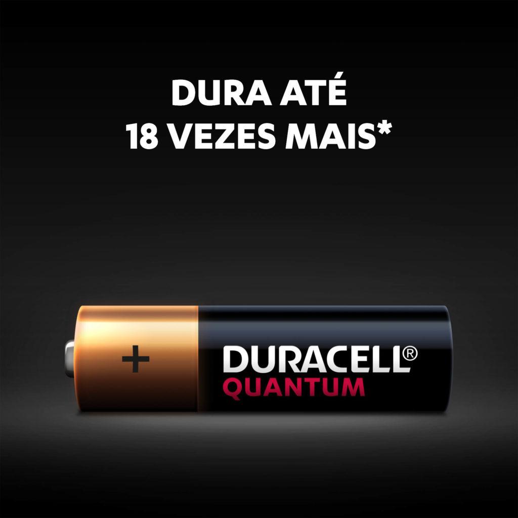 4 Pilhas Alcalina Duracell Quantum AA Pequena L4P3 1,5v