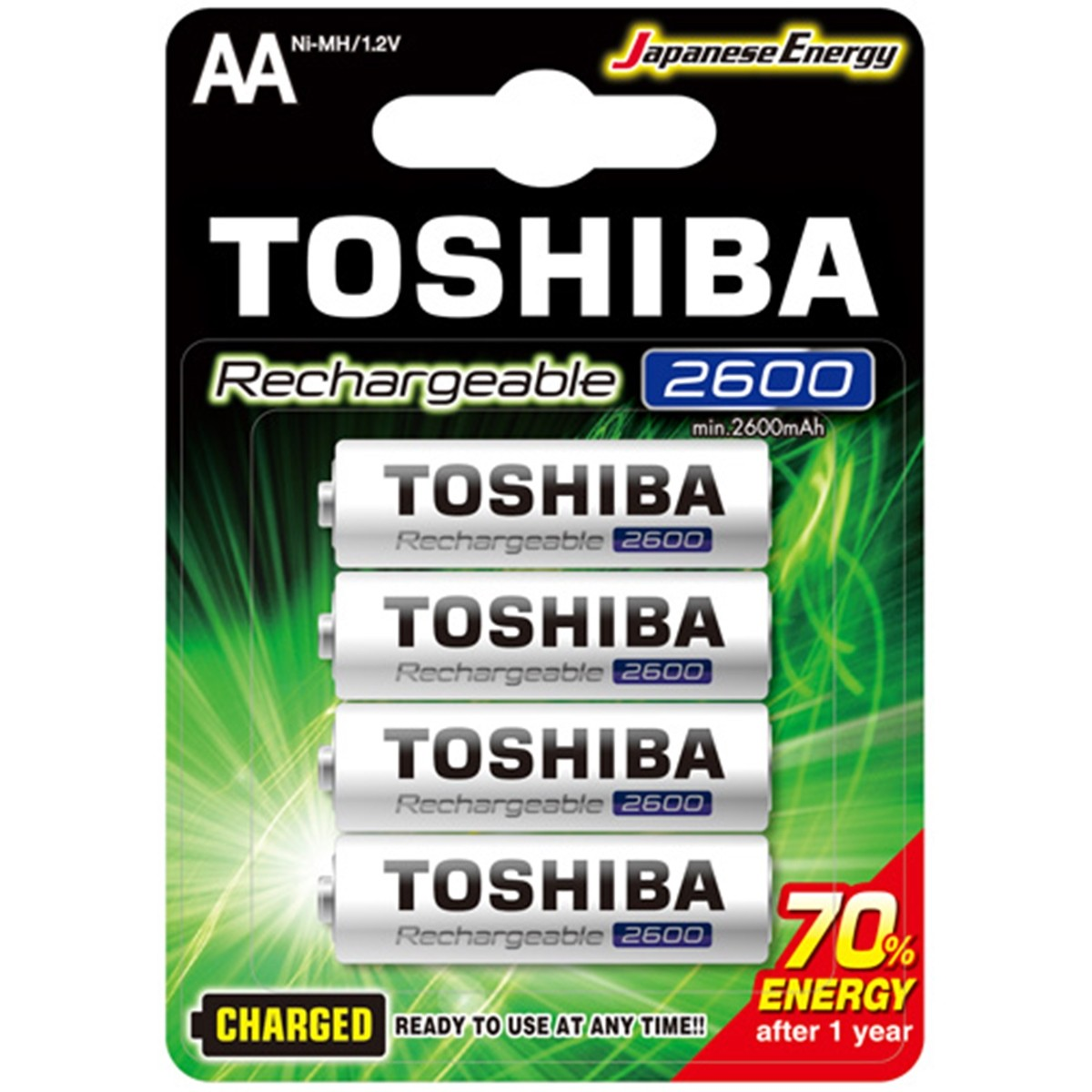 4 Pilhas Recarregáveis Toshiba AA Pequena 2600mAh TNH-6GAE BP-4C 1,2v