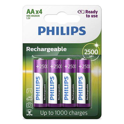 8 Pilhas Recarregáveis da Philips 4 AA 2500MAH + 4 AAA 1000MAH 1,2v