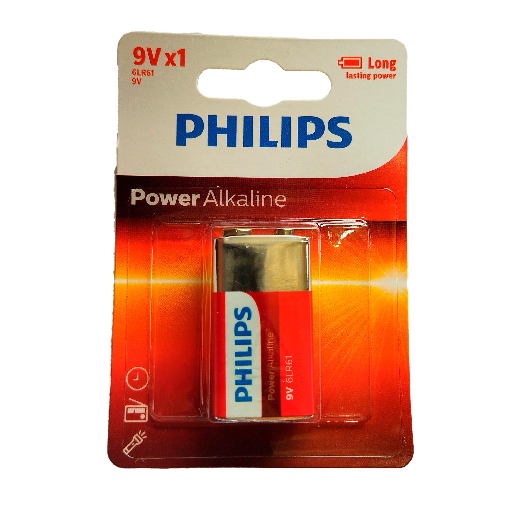 Bateria Alcalina Philips 9V 6LR61P1B/97