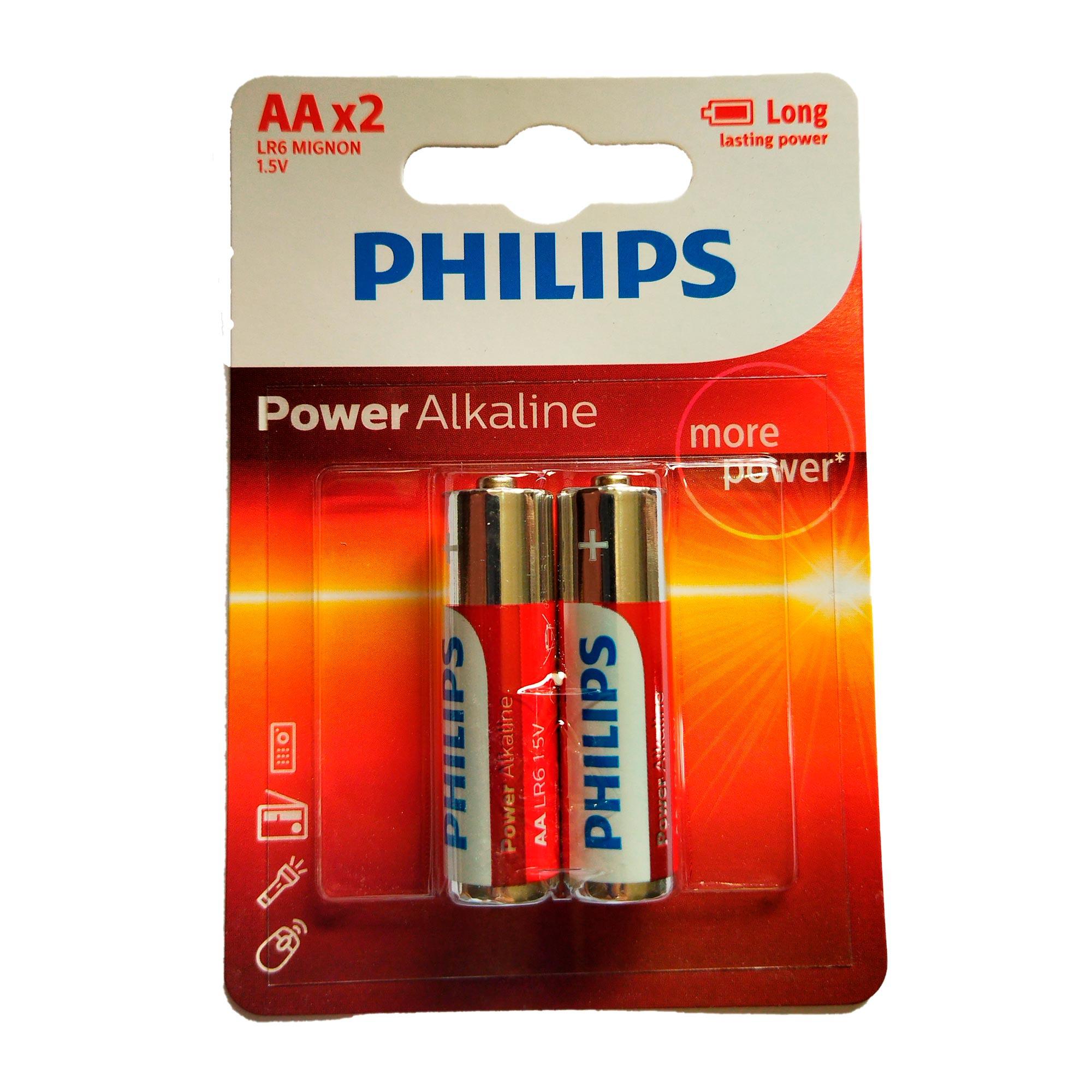 2 Pilhas Alcalina Philips AA Pequena 1,5v LR6P2B/97