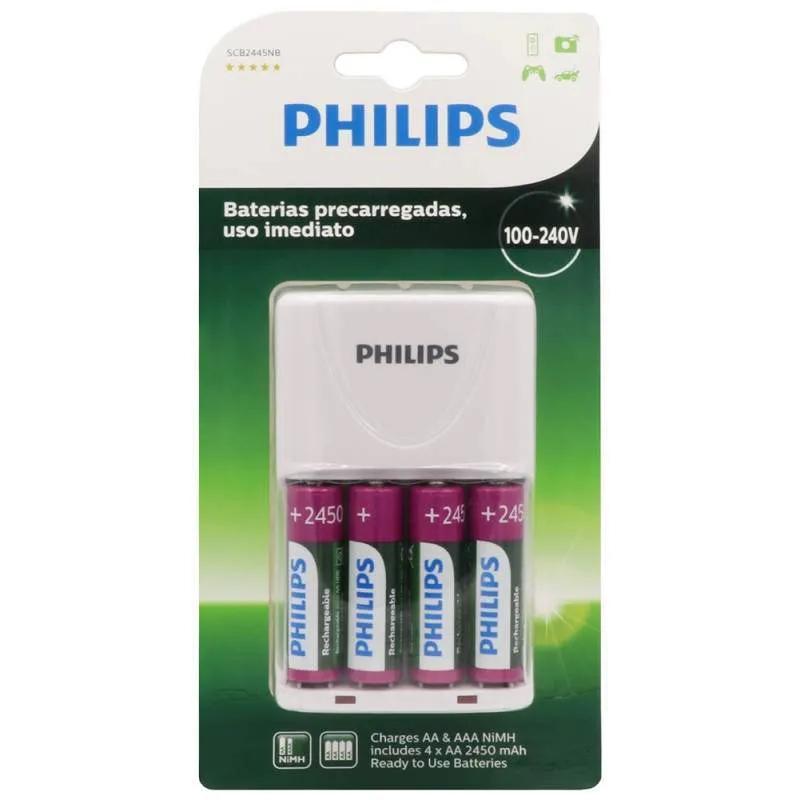 Carregador de Pilhas Philips Com 4 Pilhas Recarregáveis SCB2445NB