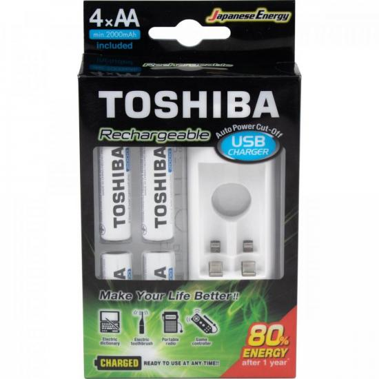 Carregador de Pilhas Toshiba USB Com 4 Pilhas Recarregáveis