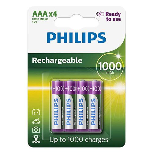 4 Pilhas Recarregáveis Philips AAA Palito 1000mAh 1,2v