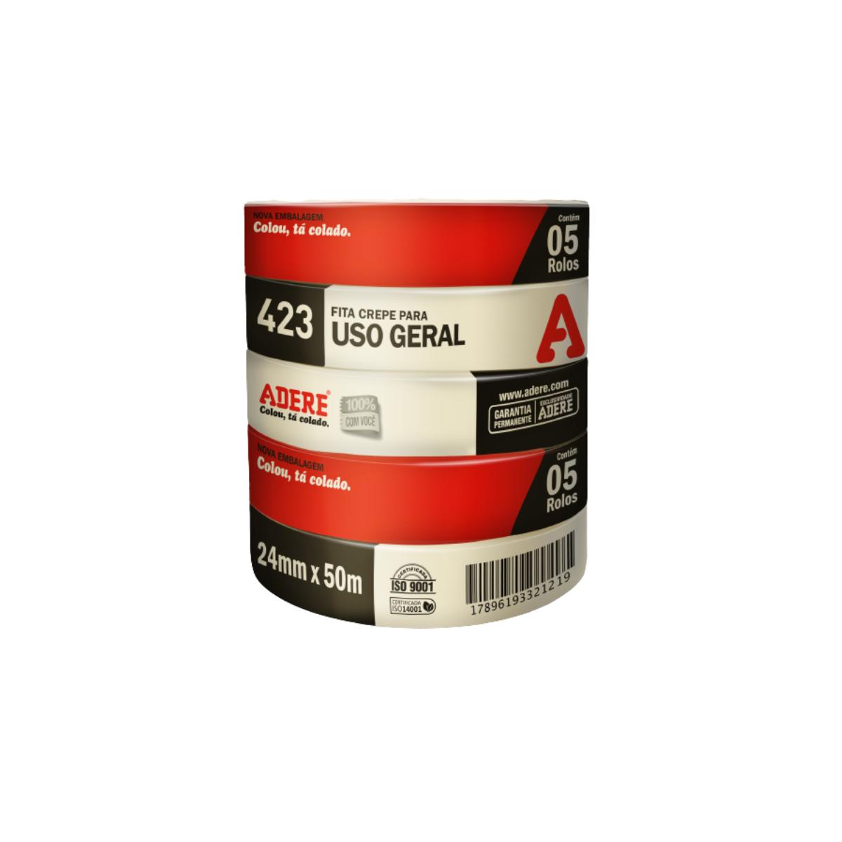 Fita Crepe 24X50 Média Uso Geral Pintura Imobiliária 10 Unid