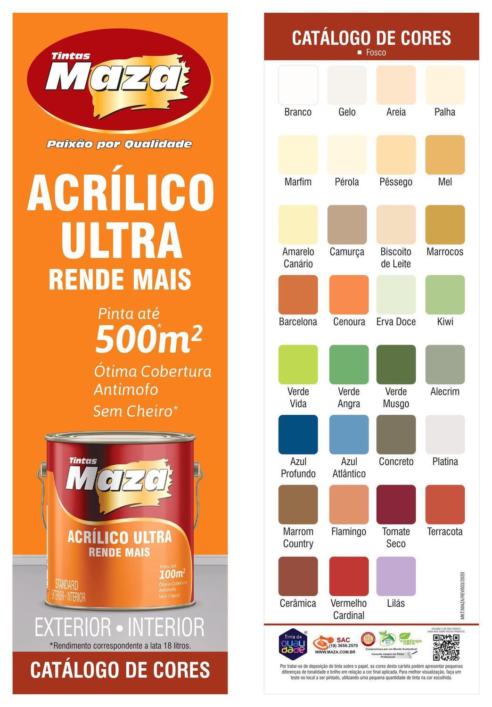 Tinta Acrílica Fosca Ultra Rende Mais Para Paredes Galão 3,6 Litros