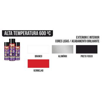 Tinta Spray Alta Temperatura 400Ml Todas As Cores
