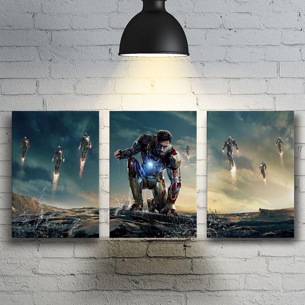 Conjunto 3 Quadros Decoração Geek Filme Homem de Ferro 3 Marvel