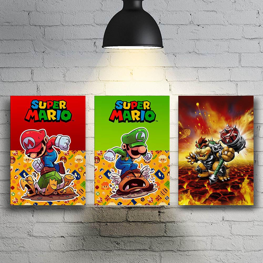 Conjunto 3 Quadros Decoração Geek Super Mario, Luigi, Bowser Koopa Destroier
