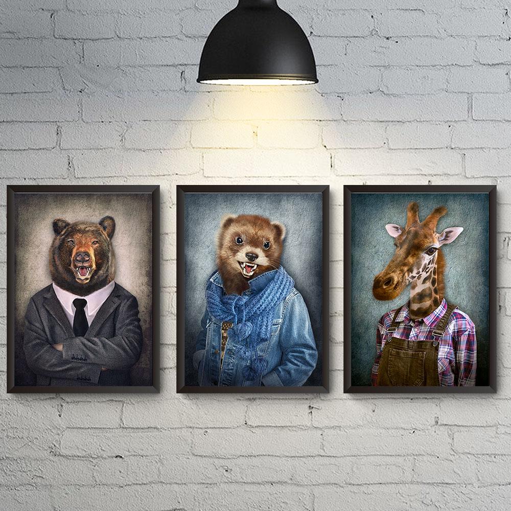 Conjunto 3 Quadros Decoração Homem Cabeça de animal