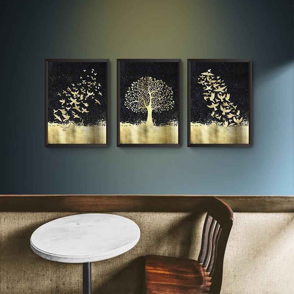 Conjunto 3 Quadros Árvore da Vida Dourada
