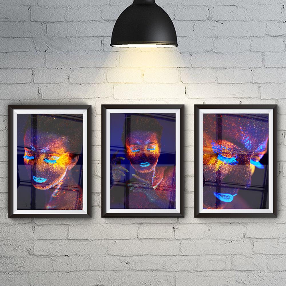 Conjunto 3 Quadros Decorativos Desejos Feminino Neon
