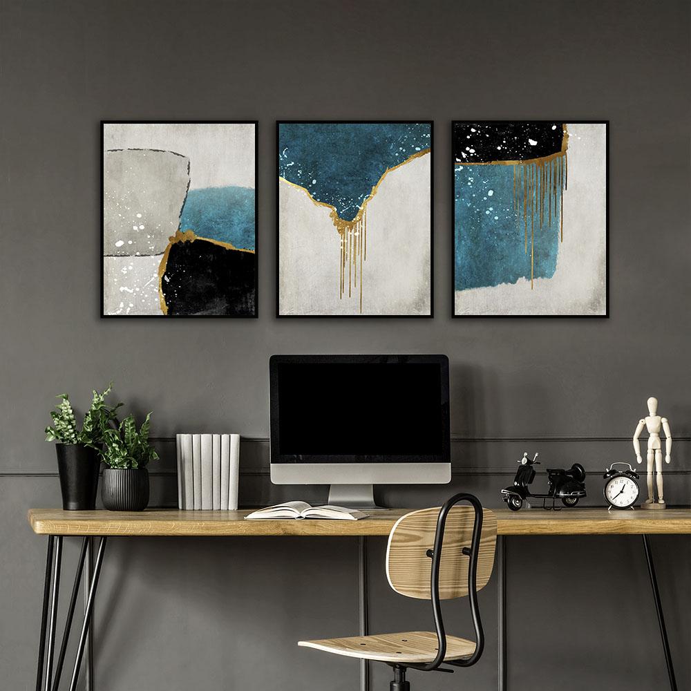 Conjunto 3 Quadros Decorativos Imagem Renascentista Abstrata