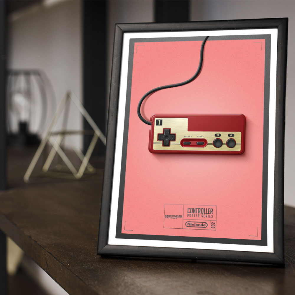 Conjunto 3 Quadros Geek Controles Game Atari 2600 / Family Computer/ Mega Drive