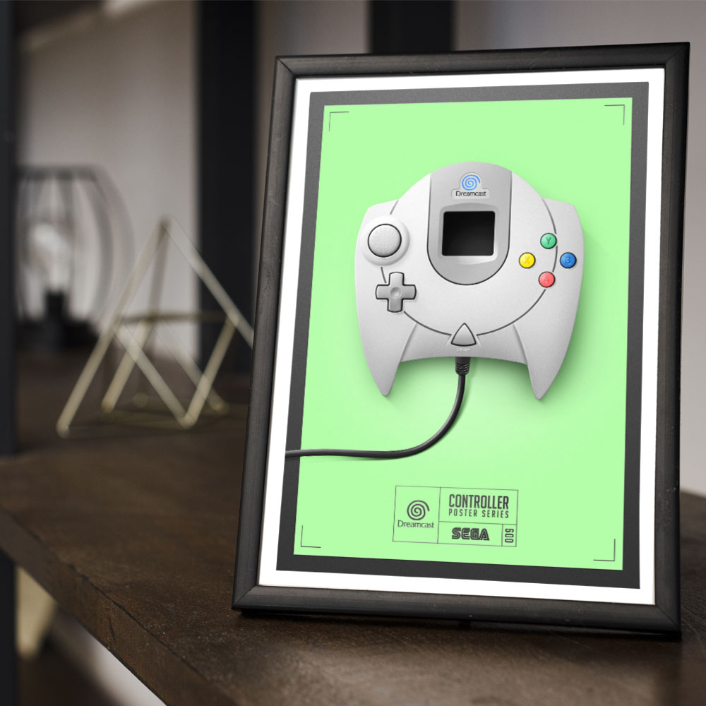 Conjunto 3 Quadros Geek Controles Game Super Nintendo / Playstation 1 / Dreamcast