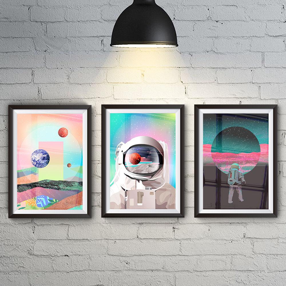 Conjunto 3 Quadros Minimalista Astronauta Visão de Saturno