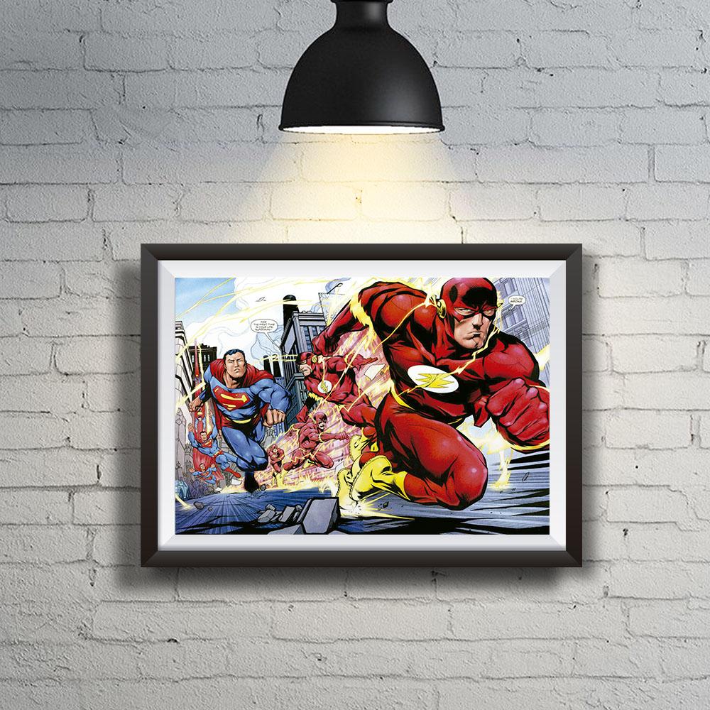 Quadro Decoração Geek  HQ Quem é o mais rápido Flash x Superman