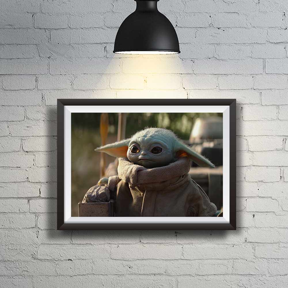 Quadro Decoração Geek Baby Yoda Grogu de Mandalorian Star Wars