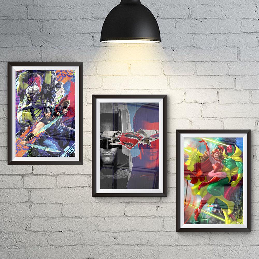 Conjunto 3 Quadros Heróis Marvel Hulk e Thor, DC Batman x Superman e  Wanda Vision Wanda e Visão