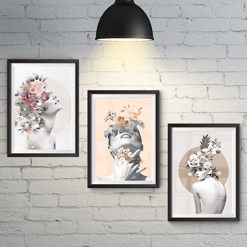 Conjunto 3 Quadros Abstratos de Decoração Natureza Feminina