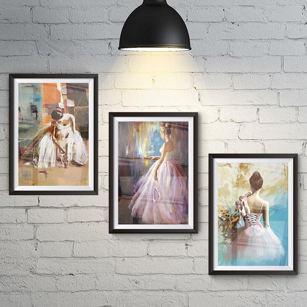 Conjunto 3 Quadros Decorativos Pinturas de Bailarinas Minimalista