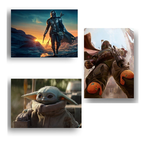 Kit 3 Quadros Decorativo 4k Mandalorian Yoda Star Wars Geek