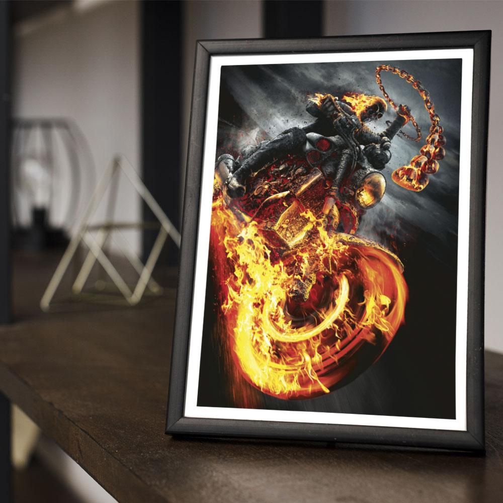 Quadro Decoração Geek Motoqueiro Fantasma Johnny Blaze
