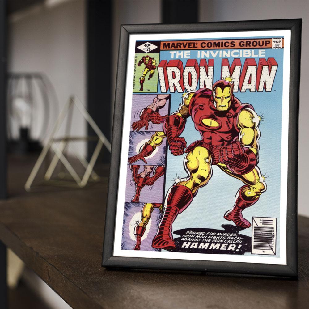 Quadro Decoração Geek HQ O Invencível Homem de Ferro Marvel Comics