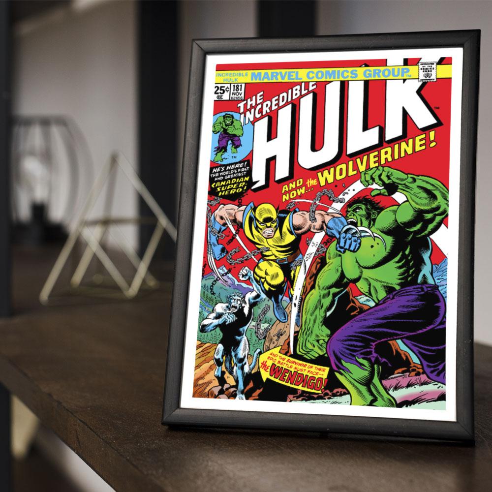 Quadro Decoração Geek HQ O incrível Hulk x Wolverine Marvel Comics