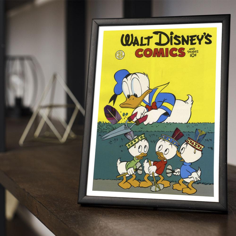 Quadro Decoração Geek HQ Pato Donald e seus Sobrinhos Huguinho, Zezinho e Luizinho Disney Comics