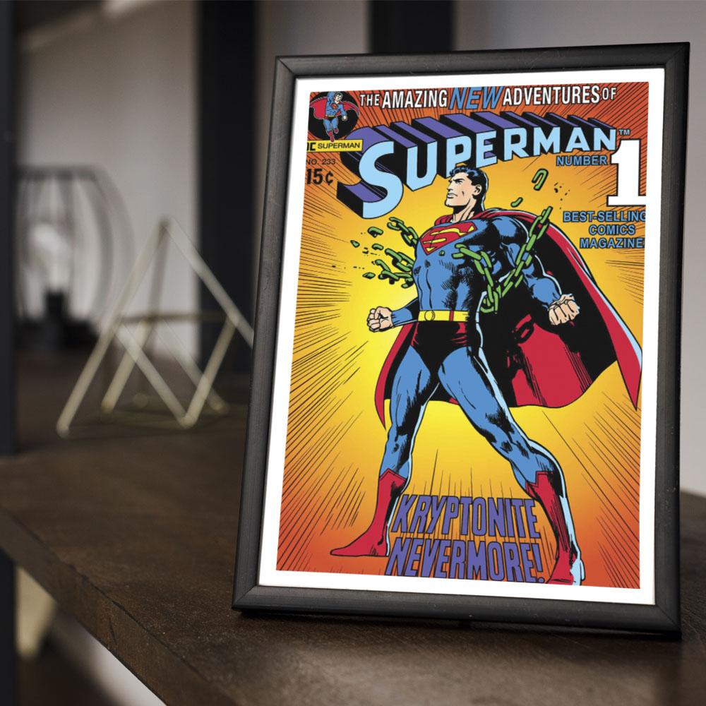 Quadro Decoração Geek HQ Superman em Criptonita Nunca Mais
