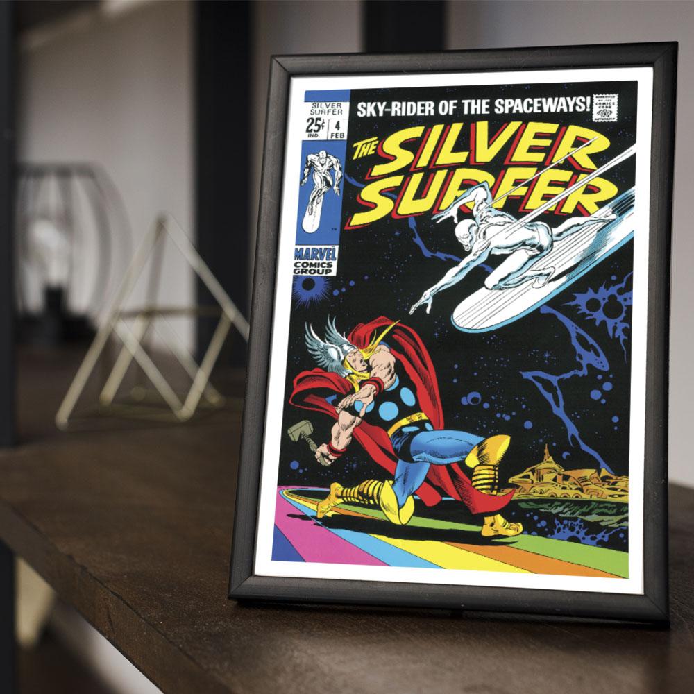 Quadro Decoração Geek Hq Surfista Prateado x Thor Deus do Trovão Marvel Comics