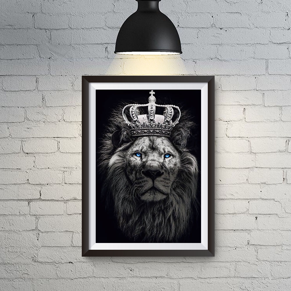 Quadro Decoração Leão Rei Coroado