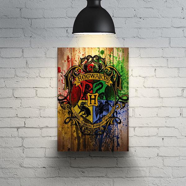 Quadro Decoração Brasão Casas de Hogwarts Harry Potter