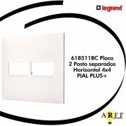 618511BC Placa  2 Posto separados Horizontal 4x4  PIAL PLUS+