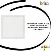 LUMINÁRIA EMBUTIR LED BRILIA  PAINEL QUADRADO 420X420MM 32W 4000K 110G BIVOLT