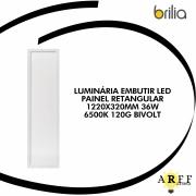 LUMINÁRIA EMBUTIR LED BRILIA  PAINEL RETANGULAR 1220X320MM 36W 6500K 120G BIVOLT
