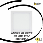 Luminaria Led Embutir 29,5x2,5x29,5cm 24W Bivolt 6500K BRILIA