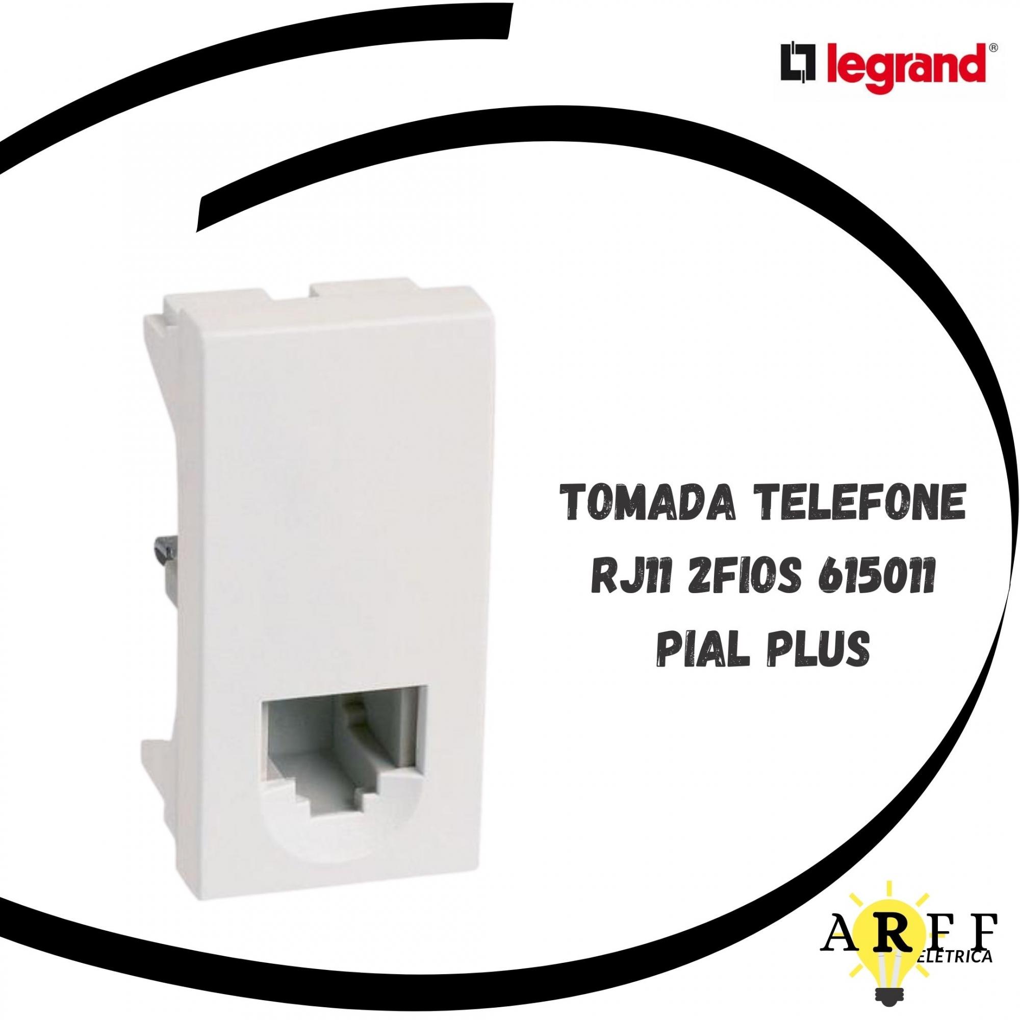 615011 Tomada Telefone RJ11 2FIOS PIAL PLUS LEGRAND
