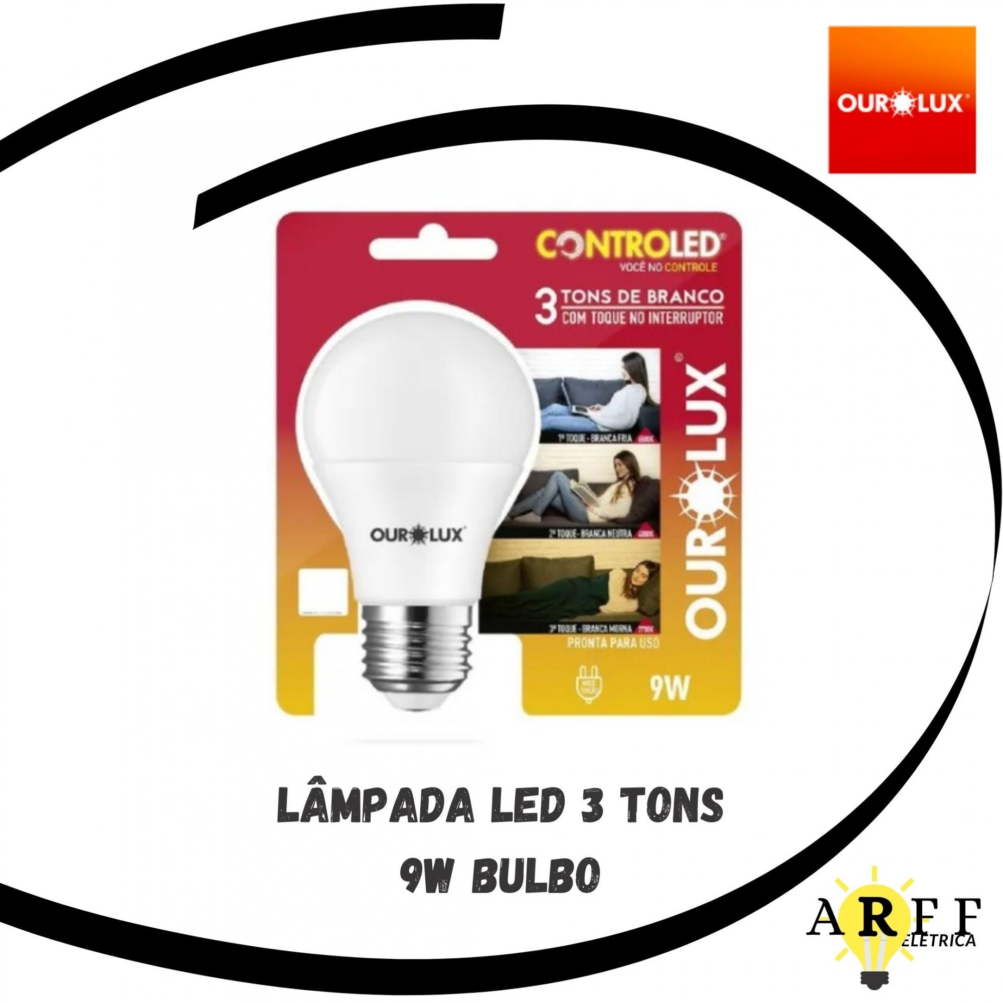Lâmpada LED 3 Tons Branco 9W OUROLUX