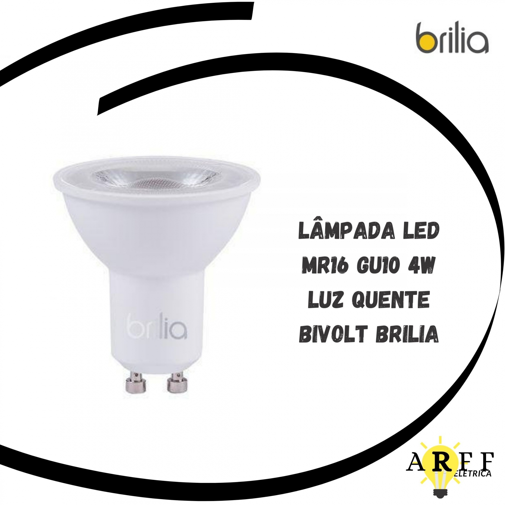 Lampada Led Dicroica MR16 GU10 4W LUZ QUENTE Bivolt BRILIA