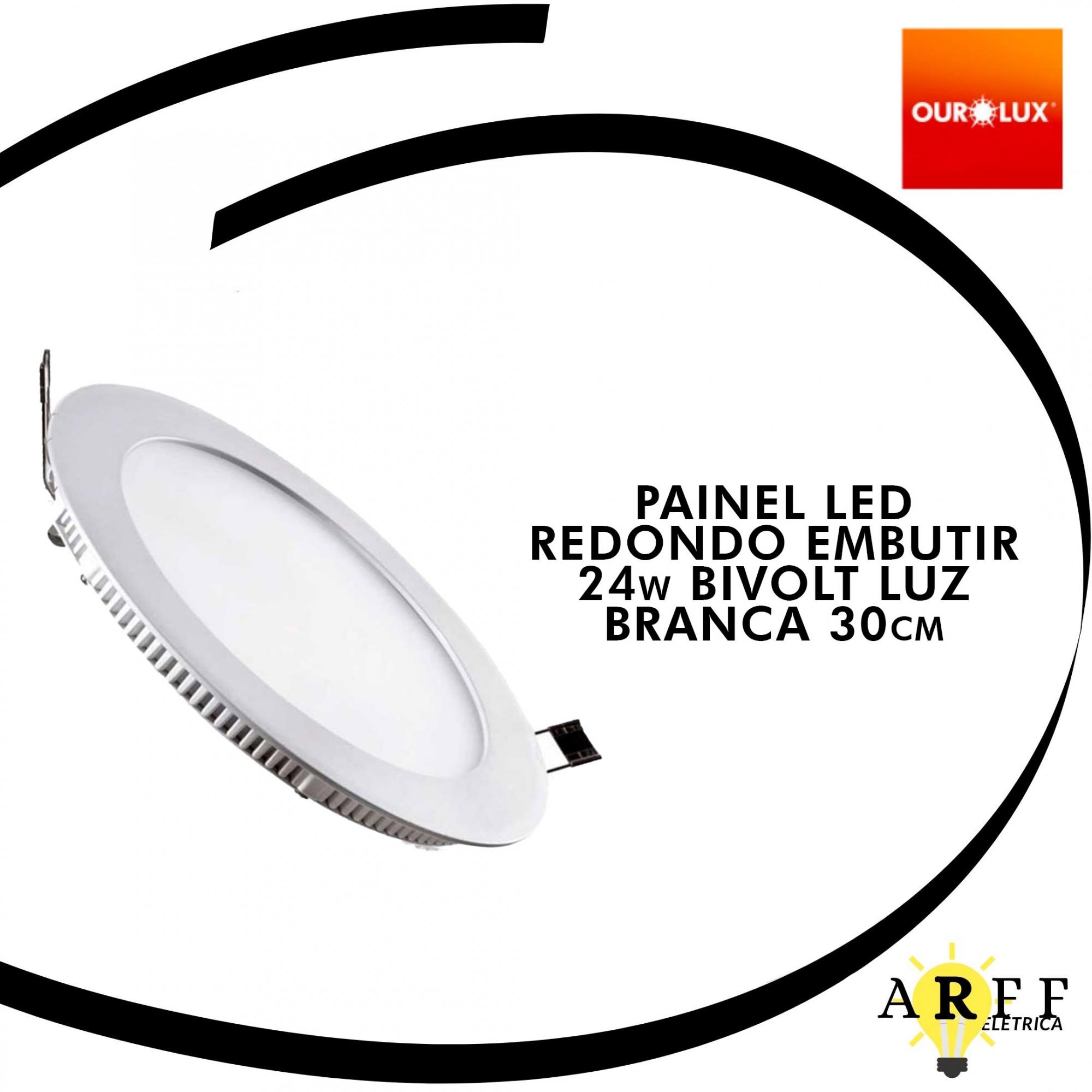 Painel Led Redondo Embutir 24W Bivolt Luz Branca 30cm