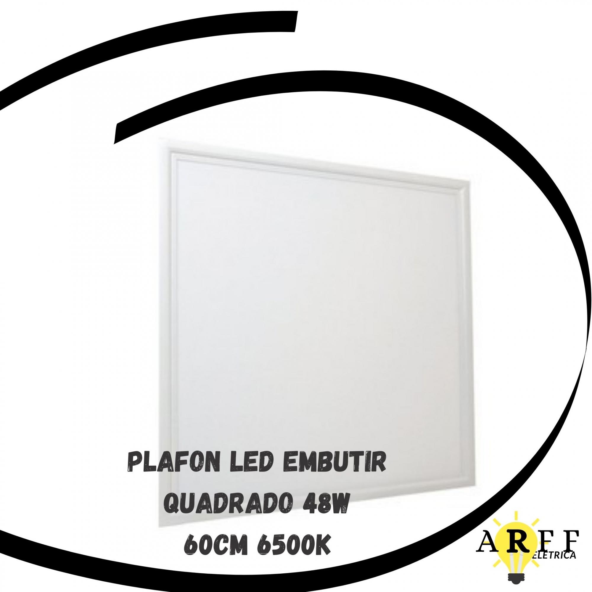 Plafon Led Embutir 48W Quadrado 60cm 6500K