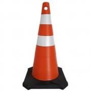 Cone de Sinalização 75 Cm Laranja e Branco Com Base de Borracha  Ag Medeiros  AG1197